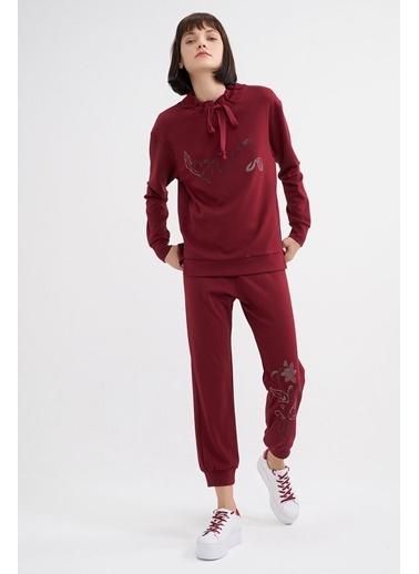 BGN Bordo - Taş Baskılı Sweatshirt - Jogging Pantolon Takım Bordo